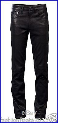 New Men Slim Fit Soft Lambskin Leather Black Pant Size 28 30 32 34 36 38 # MP22