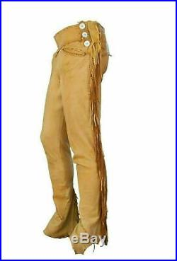 New Men's Native American Buckskin Tan Buffalo Ragged Leather Hippie Pant