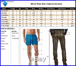 New Men's Slim Fitting Soft Lambskin Biker Pants Genuine Leather