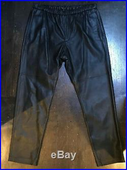 New Theory Mens Grego L Black Leather Pant Jean Sz 34 $895 Lambskin Helmut Lang