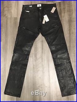 Nwt Mens Calvin Klein Jeans Black Leather Pants 30 X 32