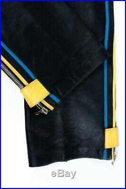 Original Vintage Dolce&Gabbana Biker Motorcycle Leather Trousers Men Pants 48 IT