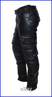 Pants Men s Leather Jeans Trouser Unisex Biker Slim Fit Real Lambskin Black 857