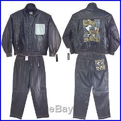 Platinum Fubu Men Outfit, Set, Jacket & Pants, Cowhide Leather, Sold As Set