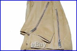 Polo Ralph Lauren Black Label Men Suede Leather Moto Zip Pants Beige Tan 36/32