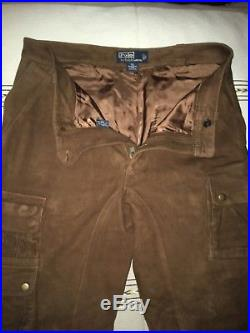 Polo Ralph Lauren Mens Pants Half Lined Brown Suede Leather Cargo 34 X 32 RRL