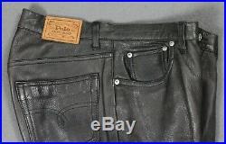 Polo Ralph Lauren Vintage Genuine Leather 5 Pocket Pants Mens 34x30 Black