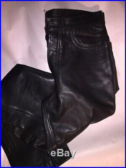 Pre-loved vintage NY LEATHER CO. Mens leather panel jeans/ pants 32/34 $850