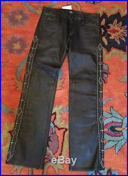 RRL Double Ralph Lauren Mens Stidded Black Leather Pants Rodeo Sz W34 x 34
