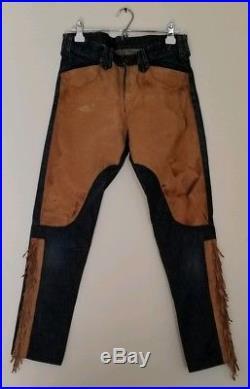RRL Mens Jeans Leather Fringe Denim Pants 32 Waist
