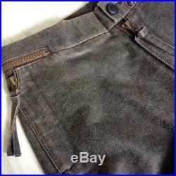 Rare Men's Vivienne Westwood Vintage Brown Biker Leather-Look trousers