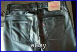 Rarity! Original Levi's Men's Black Leather Jeans 34