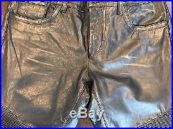 Rogue Men's Leather Biker Pants Size 33 Balmain Style