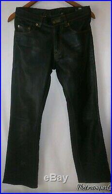 Rubio Leather Man NYC Leather Black Pants Biker Motorcycle Moto Size 29 x 31