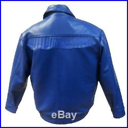 Set! Men's Leather Jacket & Denim Pants With Alligator Trimming, Royal Blue, XXL