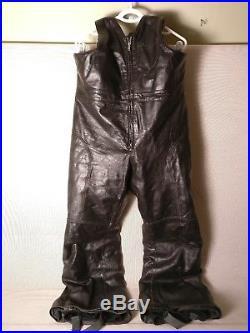 Ski-doo BOMBARDIER Black Leather SNOWMOBILE Snow PANTS Bibs MENS 38 X-Large XL