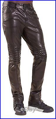 True Religion Biker Straight Leather Mens Pants in Black, Size W32, $799