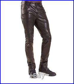 True Religion Biker Straight Leather Mens Pants in Black, Size W32/L34, $799
