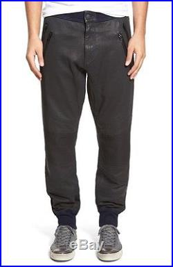 True Religion Jean Mens Faux Leather Wax Coated Moto Jogger Pants Sweatpants