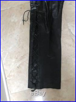 Vanguard Mens Motorcycle Lace Up Heavy Leather Pants Waist
