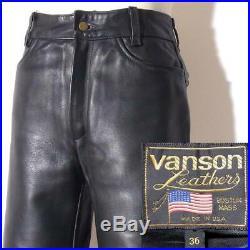 VANSON Thick Leather Pants Color Black Size 36 W 81CM PTCB Men's Casual Fashion