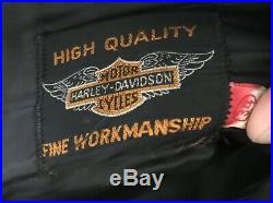 VINTAGE 50s HARLEY DAVIDSON MOTORCYCLE MENS sz 34 X 26 BLACK LEATHER PANTS
