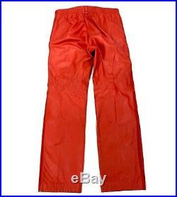 VTG Adidas Trefoil Mens Red Leather Three Stripe Pants Tapered Size Medium