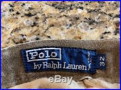 VTG Polo Ralph Lauren Men's Brown SUEDE LEATHER Pants 32 RARE $1998