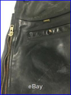 Vanson Black Heavy Leather Motorcycle Pants Side Zip Mens Size 38 Made in USA