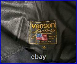 Vanson Leather Pants Men 30 Black Biker Bike 90's Vintage From Japan Genuine