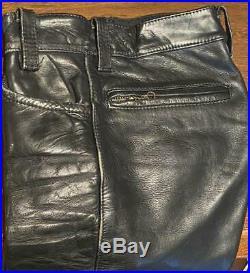 Vanson Leather Pants Men's Size 30 Black Vintage Old Genuine very good