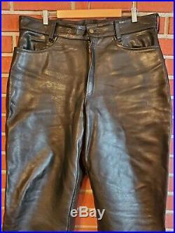 Vanson Lined Mens Leather Pants 38W (30 Inseam) Black EUC