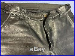 Vanson Men's Black Leather Motorcycle Pants Breeches Large Excellent Condition