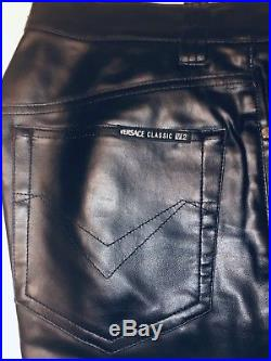 Versace Mens 32 Vegan Leather Relaxed Fit Jeans/ Pants