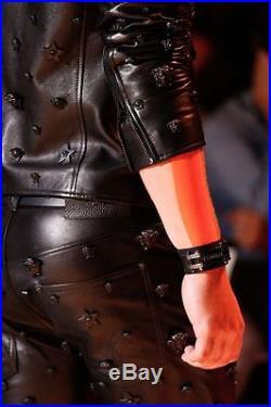 Versace Mens Fashion Show Runway Black Leather Pants Size 50 IT Waist 32 33 34