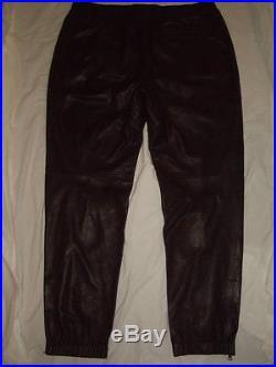 Vince Black Lambskin Leather Pants Leather Joggers Track Pants Mens Size XL