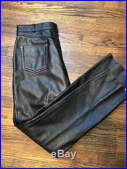 Vintage 80s LEATHER WILSONS MENS MOTORCYCLE PANTS 36 LONG BLACK Nice