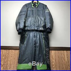 Vintage Arctic Cat Leather Snowmobile Suit Jacket Bibs Pants Gloves Wear Mens L