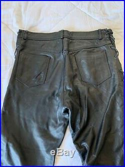 Vintage BONUS ITALIAN FASHIONS Men's Black Real Leather Pants Sz 38 Biker Laced