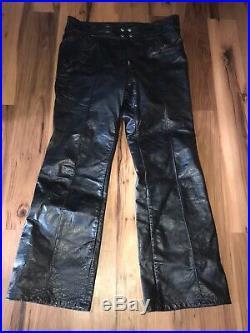 Vintage Gold Label BROOKS Leather Detroit USA Mens Motorcycle Pants SIZE 36 X32