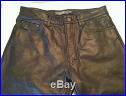 Vintage Mens Black GAP Leather Motorcycle Biker Riding Pants Boot Fit 33 x 32