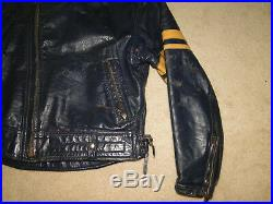 Vintage Mens Langlitz Leather Motorcycle Jacket & pant dark navy blue Sz 42`44