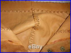 Vintage Native American Mens Leather Pants With Beadwork