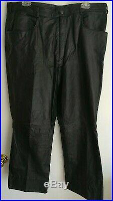 Vintage Schott NYC Sportswear Mens Size 38x34 Black Leather Motorcycle Pants
