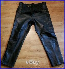 Vintage mens leather motorcycle pants 38