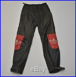 Vtg Adidas Leather Pants Brown Black Red White 80s Men Large L 36 Hip Hop Korea