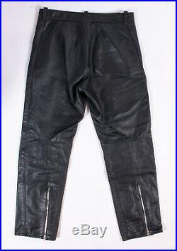 Walden Miller Mens Blac Leather Slim Fit Motorbike Pants Size 33