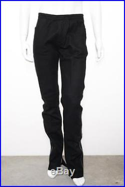 YVES SAINT LAURENT Mens VINTAGE Black Wool+Leather Stripe Pants Trousers 50/32 W
