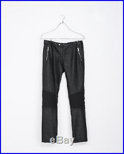 Zara Man Black Leather Biker Pants Trousers