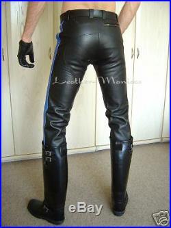 Zunfthose aus Leder mit blauen Streifen Lederhose Hose leather trousers pants